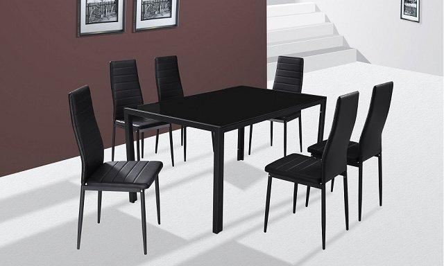 Shop Pertaining To Most Up To Date Black Glass Dining Tables And 6 Chairs (Image 16 of 20)