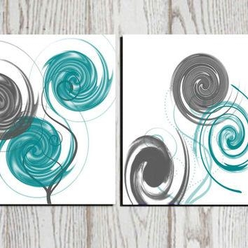 Shop Teal And Gray Decor On Wanelo Intended For Teal And Black Wall Art (Image 16 of 20)