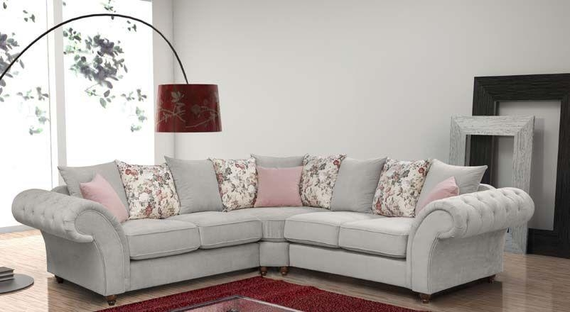 Silver Fabric Corner Sofa | Sofas Direct For Corner Sofas (Image 17 of 20)