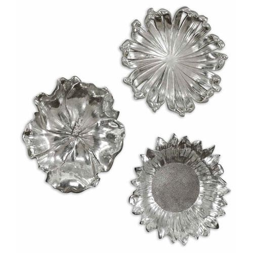 Silver Flowers Metal Wall Art, Set Of Three Uttermost Wall With Silver Metal Wall Art Flowers (View 6 of 20)