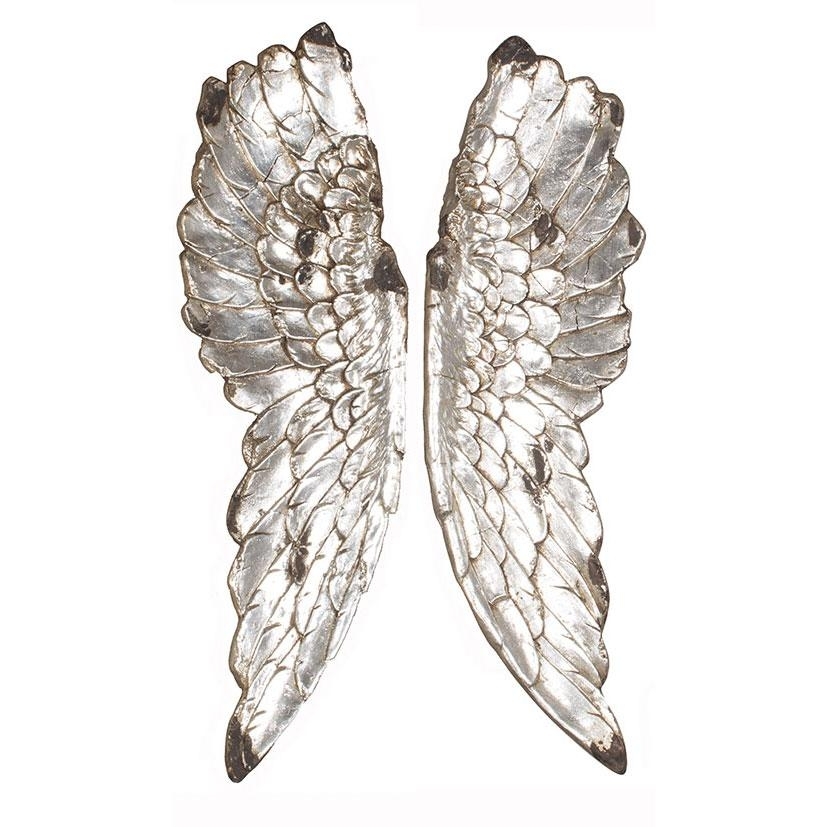 Silver Polyresin Angel Wings Wall Art For Angel Wing Wall Art (View 13 of 20)