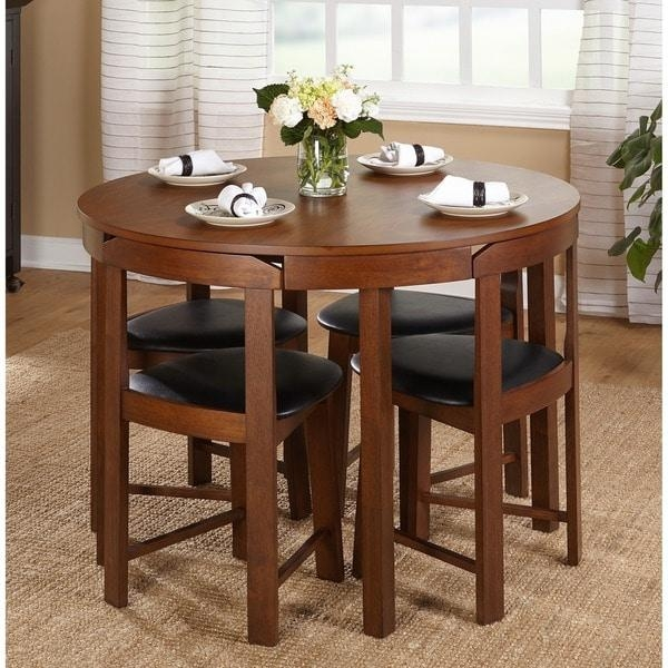 Simple Living 5 Piece Tobey Compact Round Dining Set – Free Throughout Compact Dining Sets (Image 16 of 20)