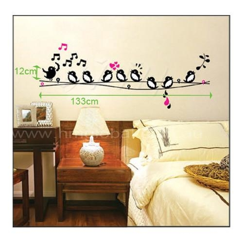 Singing Birds On Wire Wall Art Decal | Temple & Webster Within Birds On A Wire Wall Art (View 7 of 20)