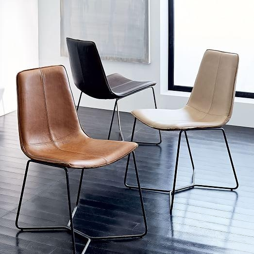 Slope Leather Dining Chair | West Elm For Brown Leather Dining Chairs (View 7 of 20)