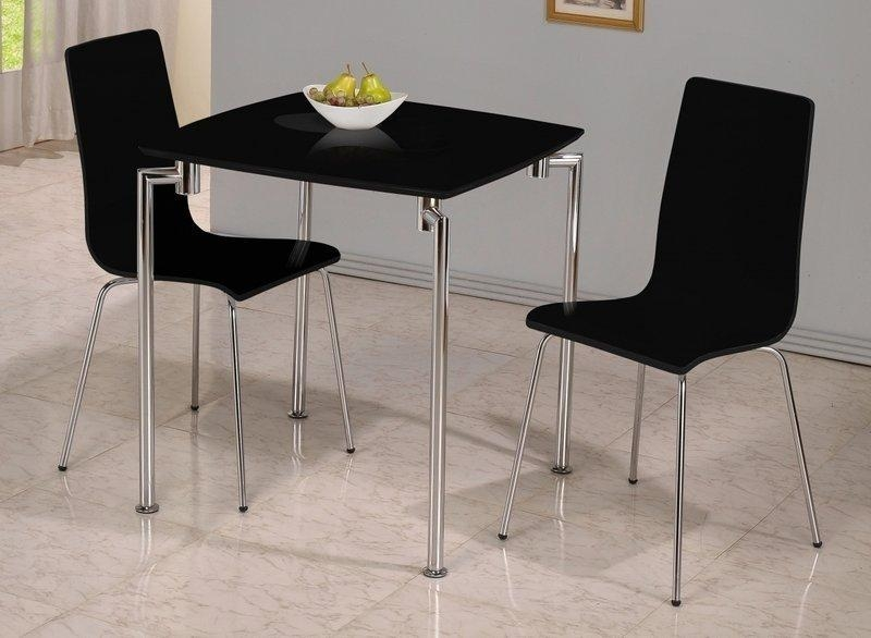 Small Black High Gloss Dining Table And 2 Chairs – Homegenies 2017 Within 2018 Black High Gloss Dining Tables And Chairs (View 19 of 20)