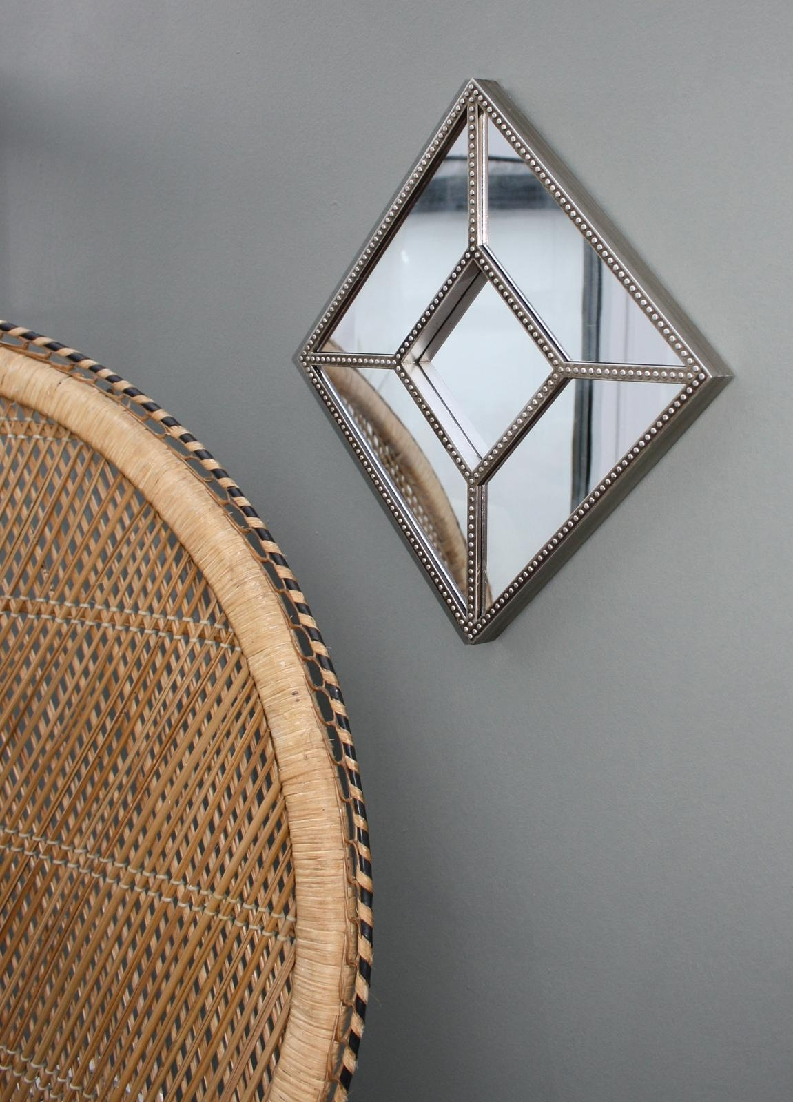 Small Champagne Coloured Frame Wall Hung Faceted Mirror Intended For Small Diamond Shaped Mirrors (Image 19 of 20)