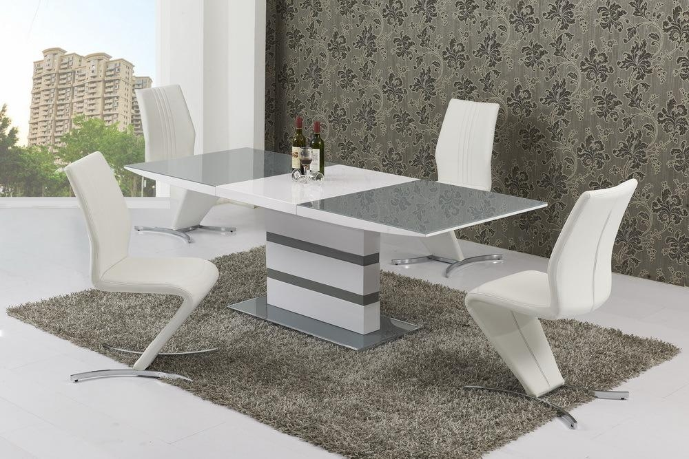 Small Extending 4 Seater Gloss Grey Glass Dining Table & Chairs Pertaining To Most Up To Date High Gloss Extending Dining Tables (View 7 of 20)