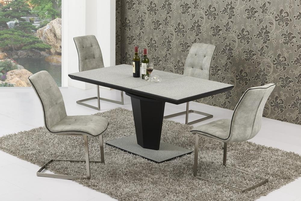 Small Extending Grey Stone Effect Glass Dining Table And 6 Chairs Throughout Extending Marble Dining Tables (View 18 of 20)