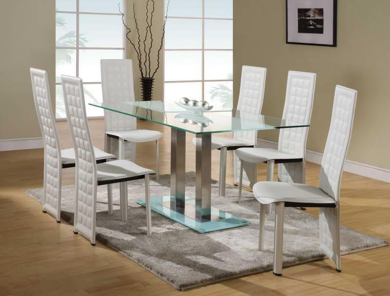 Small Round Brown Stained Pine Wood Glass Dining Table Extension Inside Best And Newest White Glass Dining Tables And Chairs (Image 17 of 20)