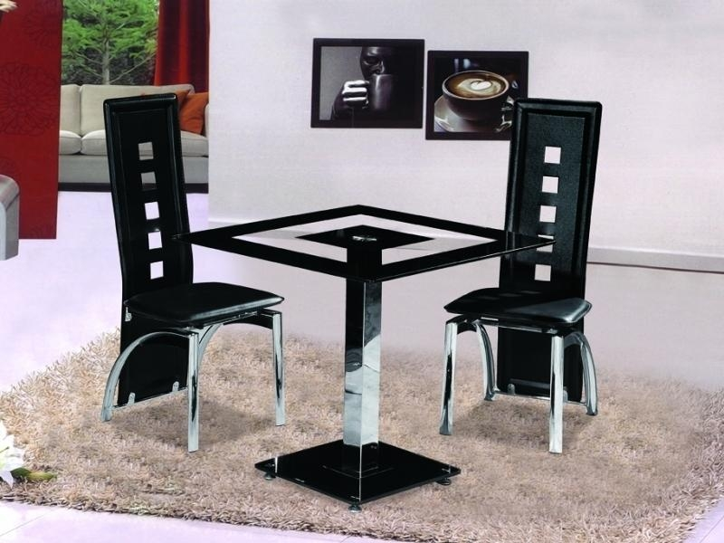 Small Square Black Glass Dining Table With 2 Chairs – Homegenies In Most Popular Square Black Glass Dining Tables (Image 14 of 20)