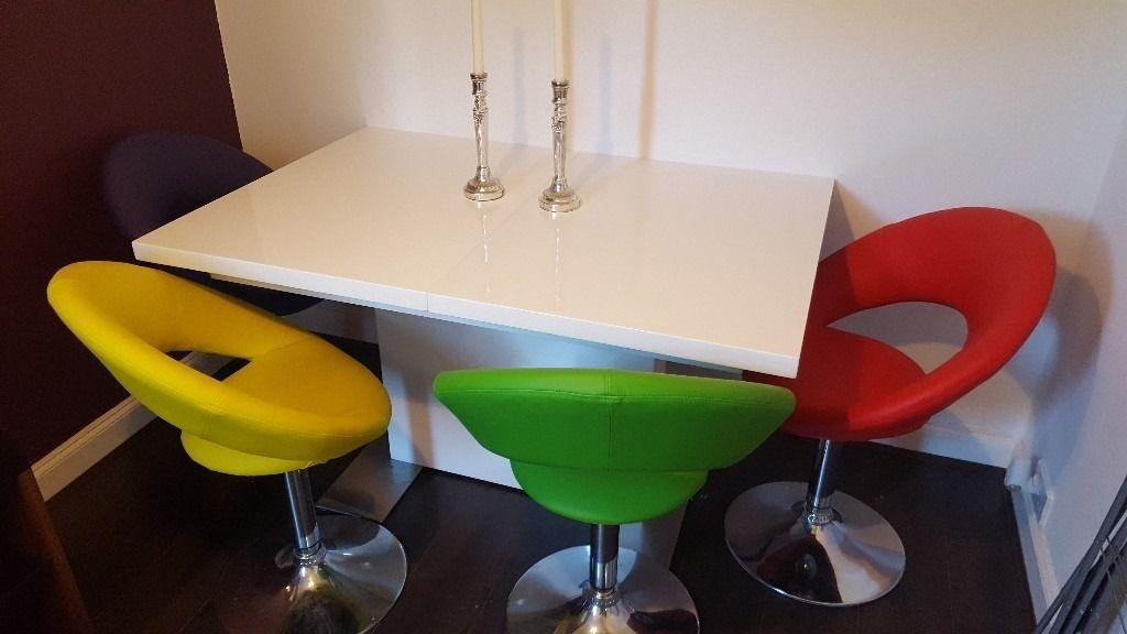 Smartie White Gloss Extending Dining Table & 4 Multi Coloured Within Most Recent Smartie Dining Tables And Chairs (Image 19 of 20)