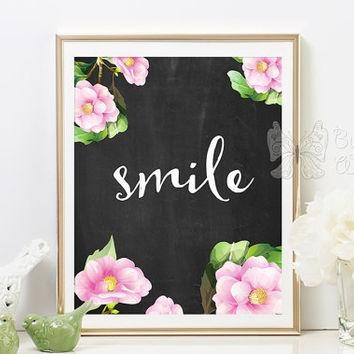 Smile Printable Wall Art, Chalkboard From Butterflywhisper On Regarding Framed Wall Art Sayings (View 18 of 20)
