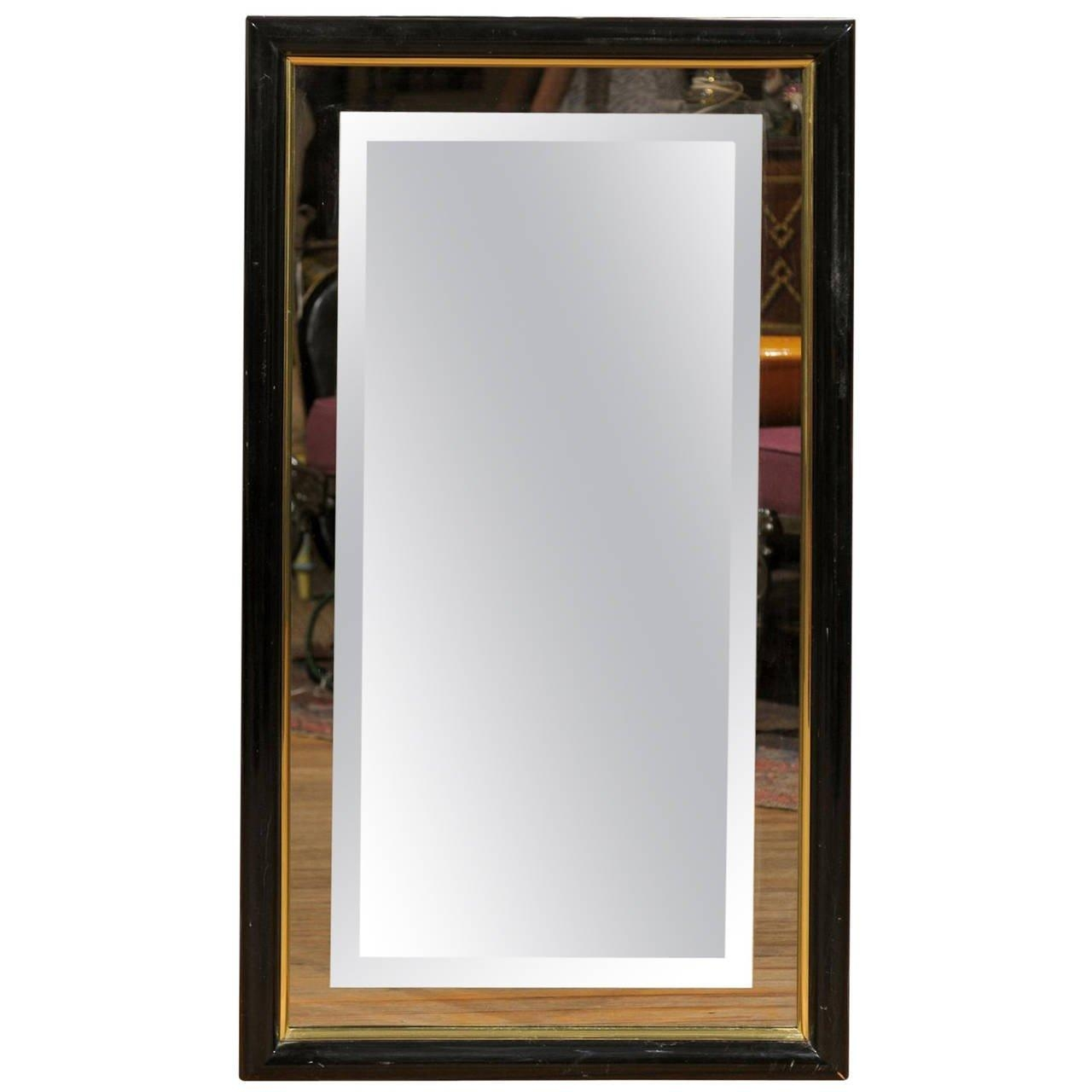 Smoked And Beveled Glass Wall Mirror In A Black And Brass Frame Regarding Black Wall Mirrors For Sale (Image 17 of 20)