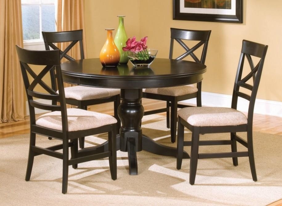 Sofa : Appealing Black Round Kitchen Tables 1 Elegant 72 Inch In Most Up To Date Black Wood Dining Tables Sets (Image 18 of 20)