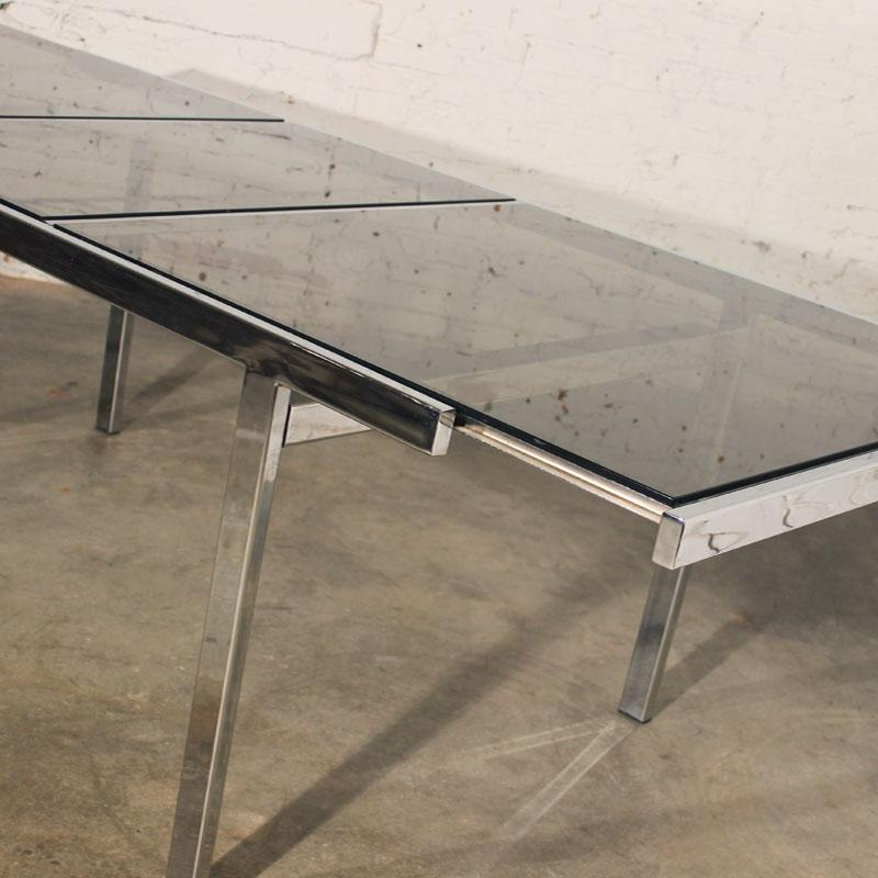 Sold – Vintage Milo Baughman Expandable Dining Table Chrome And With Regard To Most Recent Chrome Glass Dining Tables (Image 16 of 20)
