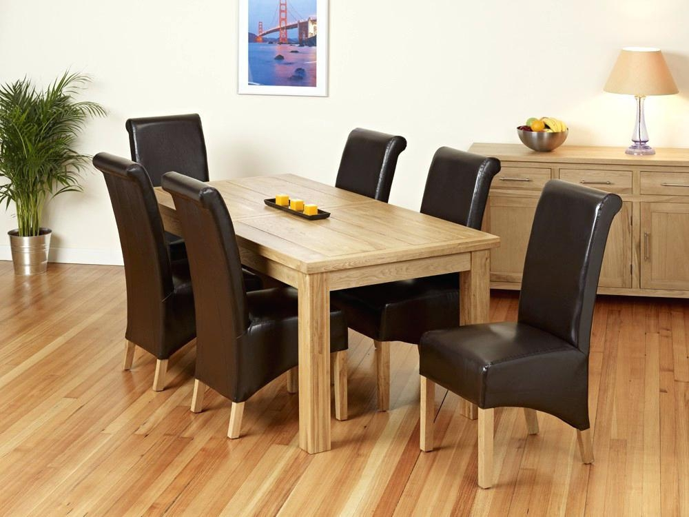 Solid Oak Dining Room Table And 6 Chairs Furniture Set Used Oak Intended For Most Current Light Oak Dining Tables And 6 Chairs (Image 18 of 20)