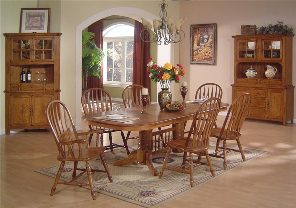 Solid Oak Dining Table & Arrowback Chair Sete.c.i (Image 18 of 20)