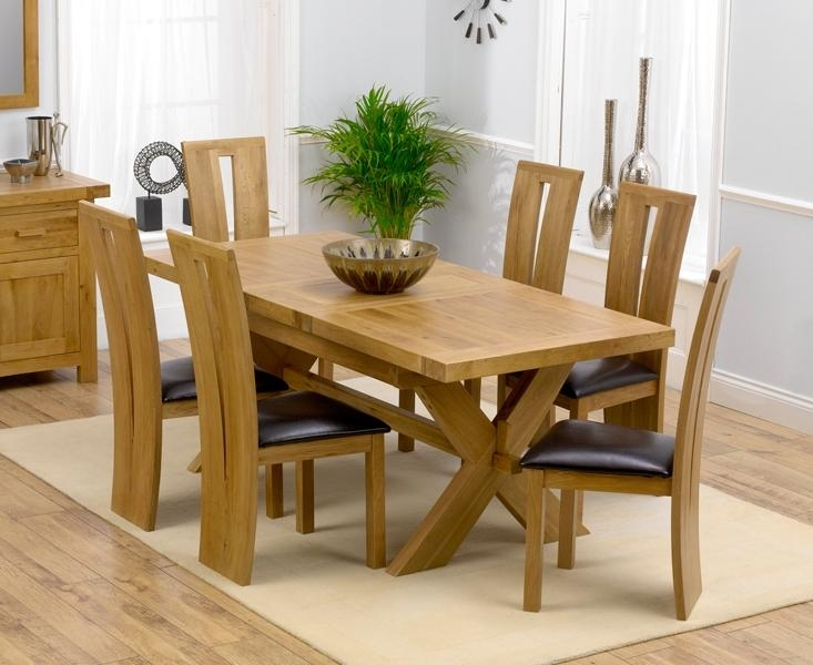 Solid Oak Round Extending Dining Table And Chairs – Starrkingschool Pertaining To Latest Dining Tables With 6 Chairs (Image 17 of 20)