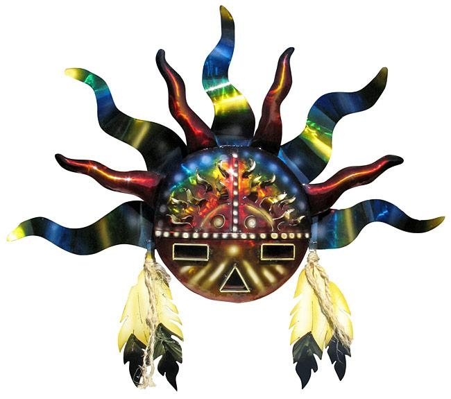 Southwest Indian Sun 3D Metal Wall Art Sculpture With Regard To 3D Metal Wall Art (Image 16 of 20)