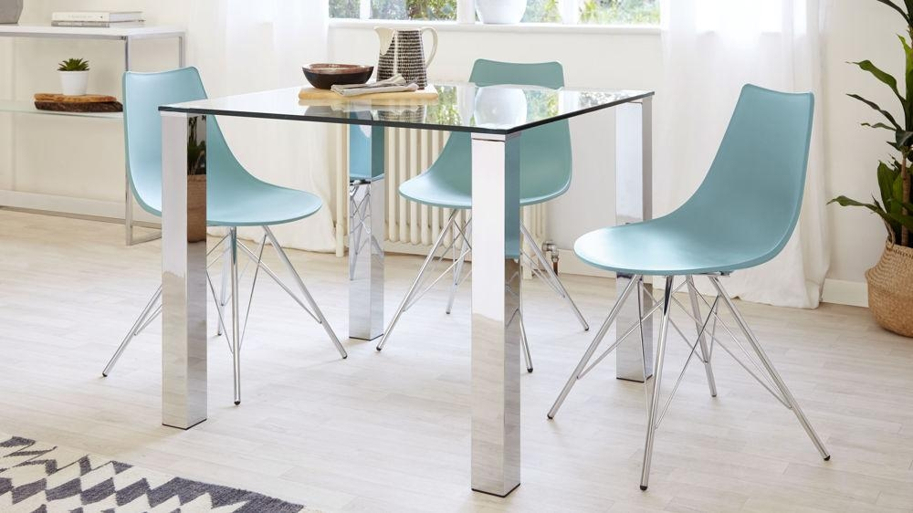 Square Glass Dining Table | Chrome Legs | 4 Seater Table Uk Intended For Current Chrome Glass Dining Tables (Image 17 of 20)