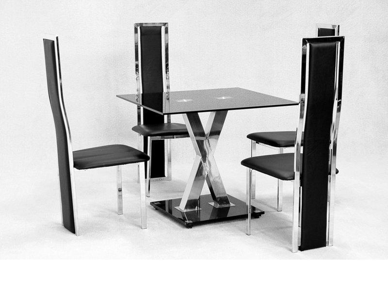 Square Glass Dining Table X Chrome And 4 Faux Chairs – Homegenies With Regard To Most Up To Date Square Black Glass Dining Tables (Image 17 of 20)
