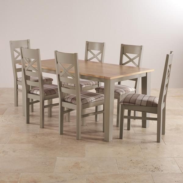 St Ives Dining Set In Grey Painted Acacia: Table + 6 Chairs Throughout Most Recent Light Oak Dining Tables And 6 Chairs (Image 19 of 20)