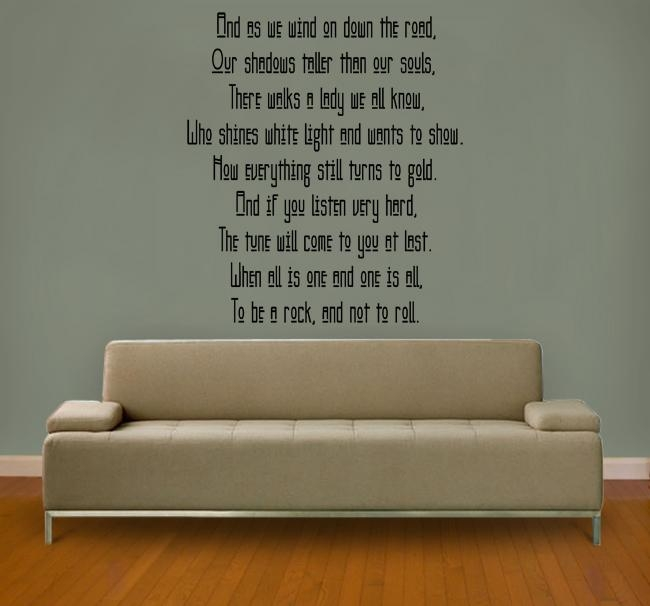 Stairway To Heaven Version 2 (Led Zeppelin) Lyric Wall Decal Inside Led Zeppelin Wall Art (Image 13 of 20)