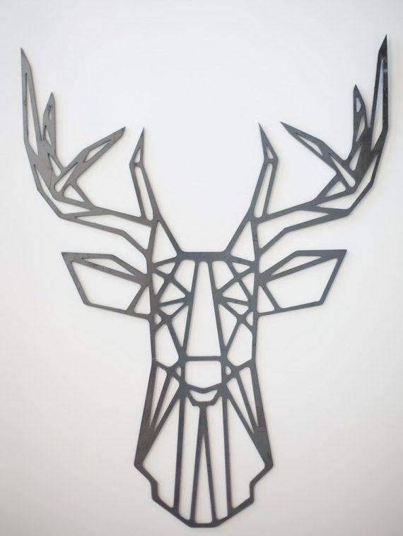 Steel Geometric Deer Wall Artfactorycustomfab On Etsy | Wall Inside Metal Animal Heads Wall Art (View 2 of 20)