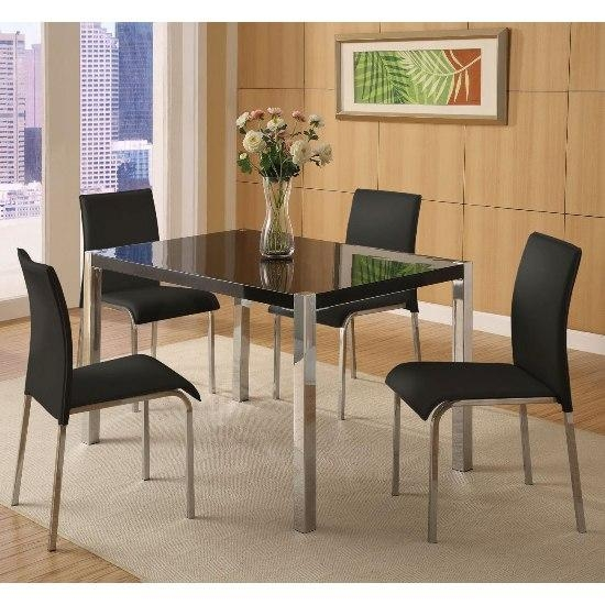 Stefan Hi Gloss Black Dining Table And 4 Chairs 4667 With Regard To 2017 Black Gloss Dining Tables And Chairs (Image 17 of 20)