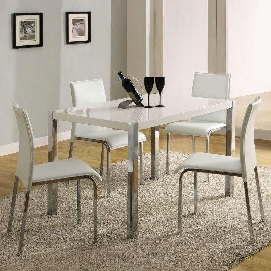 Stefan High Gloss White Dining Table And 4 Chairs 4668 In White High Gloss Dining Tables And 4 Chairs (Image 17 of 20)