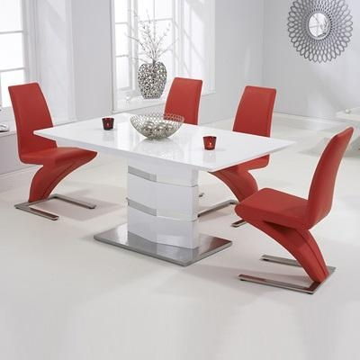 Stenson High Gloss White Dining Table With 6 Harvey Black Chairs Throughout 2017 Red Gloss Dining Tables (Image 17 of 20)