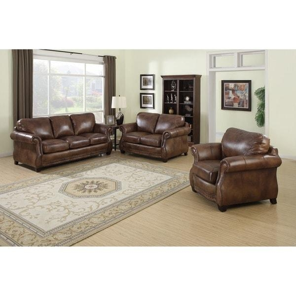 Sterling Cognac Brown Italian Leather Sofa, Loveseat And Chair In Italian Leather Sofas (View 18 of 20)