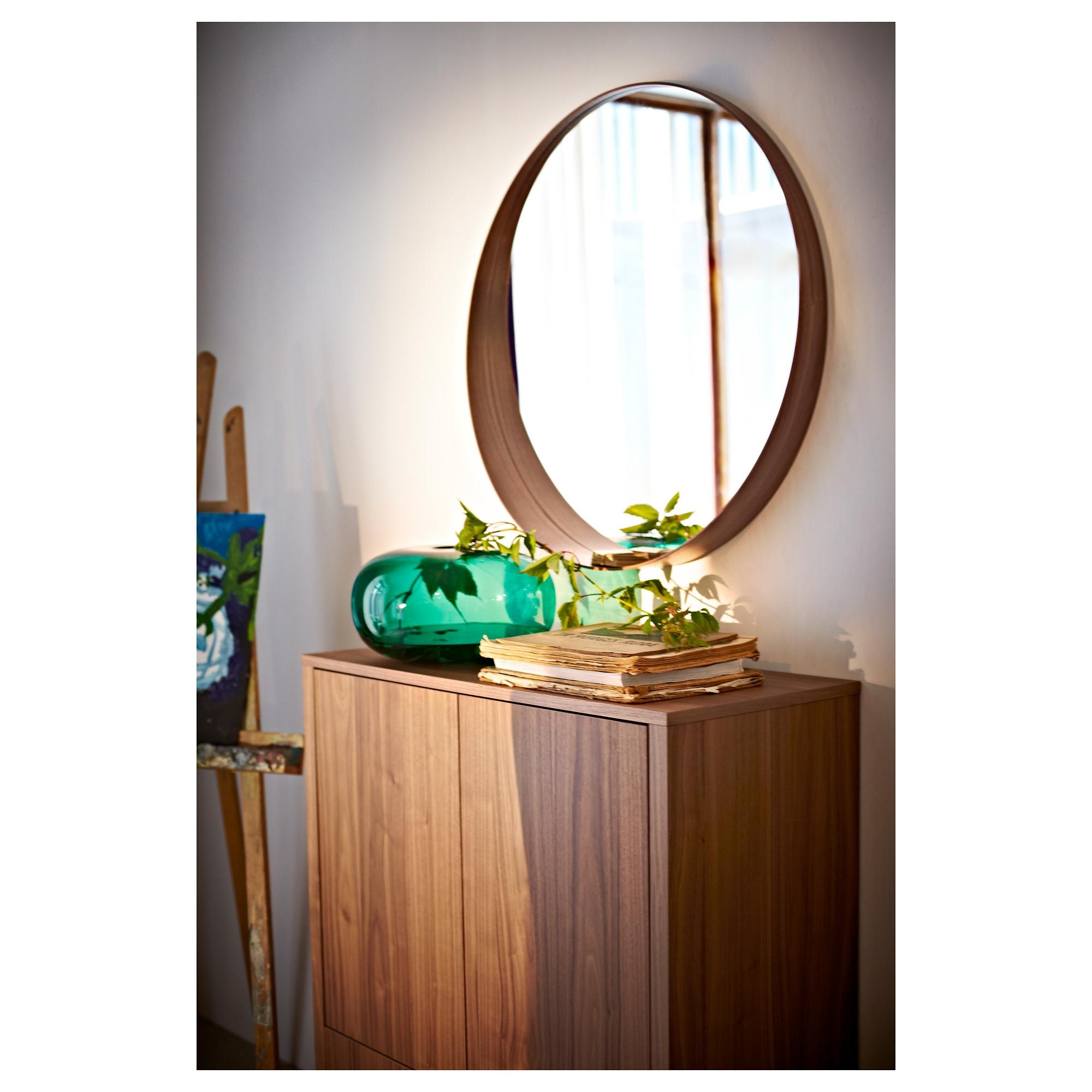 Stockholm Mirror Walnut Veneer 80 Cm – Ikea Throughout Hallway Safety Mirrors (Image 16 of 20)