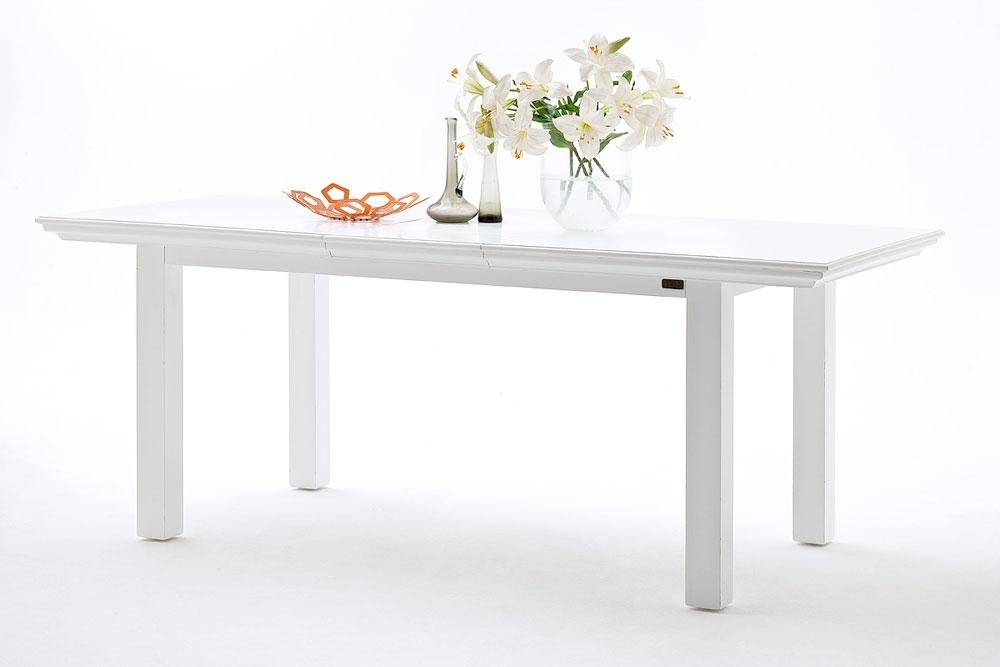 Stockholm White Painted Mahogany Furniture Extending Dining Table Intended For Most Recently Released Small White Extending Dining Tables (Image 14 of 20)