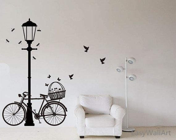Street Lamp And Bicycle Wall Decal Bike Wall Sticker Vinyl With Regard To Street Wall Art Decals (Image 14 of 20)