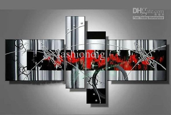 Stretched Contemporary White Grey Red Black Modern Abstract Oil Throughout Red And Black Canvas Wall Art (View 8 of 20)