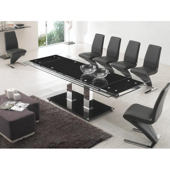 Stunning Black Extendable Dining Table And Chairs 24 For Your Pertaining To Most Recent Black Extendable Dining Tables Sets (Image 20 of 20)