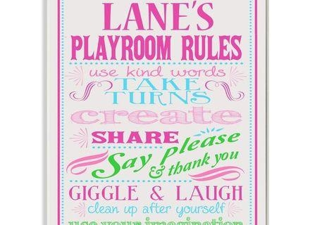 Stupell Decor Personalized Pink And Purple Playroom Rules Wall Throughout Playroom Rules Wall Art (Image 19 of 20)