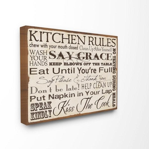 Stupell 'kitchen Rules' Typography Canvas Wall Art – Free Shipping For Typography Canvas Wall Art (View 9 of 20)