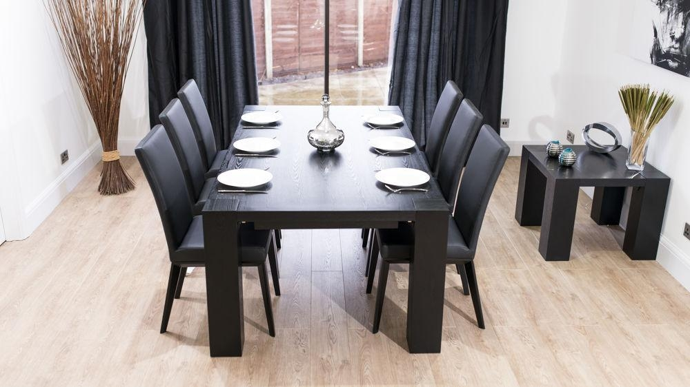 Stylish Large Black Ash Wood Extending Dining Set | Real Leather Within Most Popular Black Extending Dining Tables (Image 19 of 20)