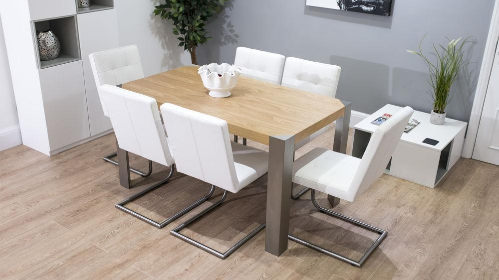 Stylish Modern Oak Dining Table & Leather Cantilever Chairs With Most Popular Oak Dining Tables And Leather Chairs (Image 18 of 20)