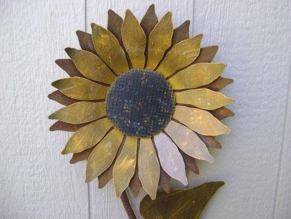 Sunflower Metal Garden Art Sunflower Wall Art Rusty Metal In Metal Sunflower Wall Art (View 14 of 20)