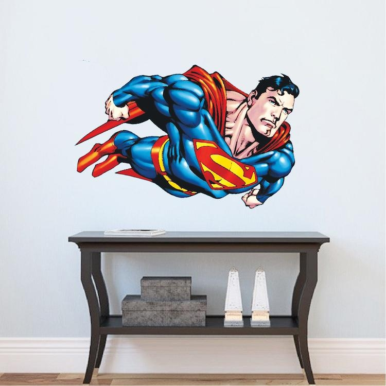 Superman Flying Wall Decal – Superman Bedroom Wall Decal Pertaining To Superhero Wall Art Stickers (Image 17 of 20)