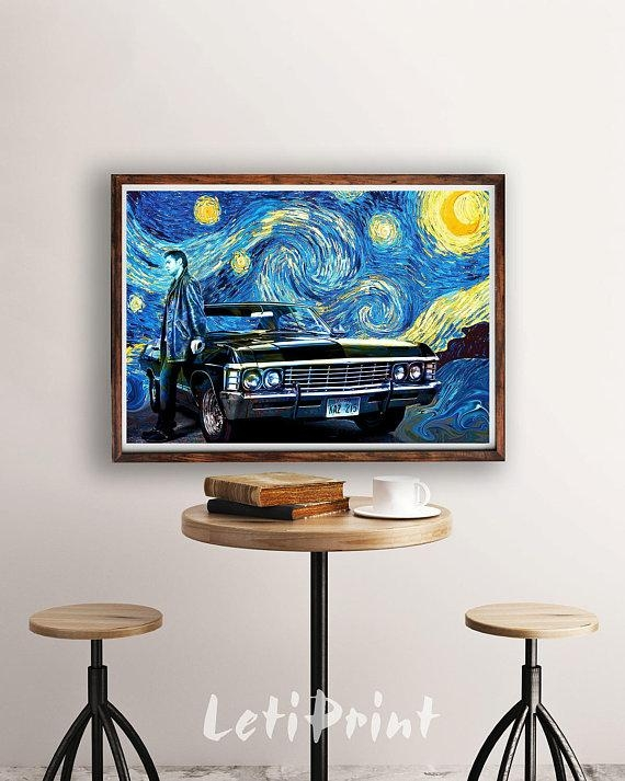 Supernatural Print Starry Night Print Supernatural Poster With Regard To Supernatural Wall Art (Image 12 of 20)