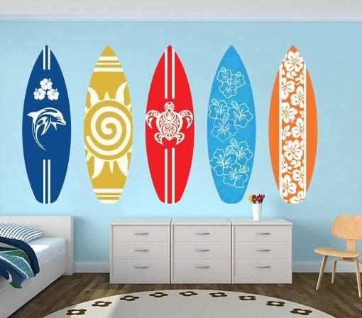 Surfboards Wall Art Decal Pack For Housewares · Moonwallstickers For Surf Board Wall Art (View 3 of 20)