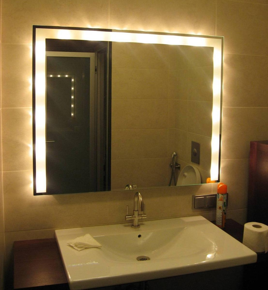 Surprising Led Bathroom Vanity Light Vanity Lights Walmart Mirror With Regard To Lights For Bathroom Mirrors (Image 18 of 20)