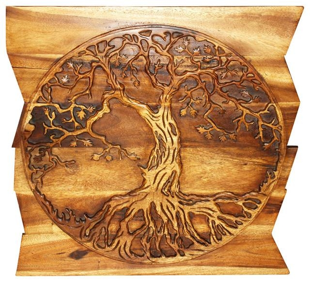 Sustainable Wood Tree Of Life On Uneven Boards – Traditional Regarding Tree Of Life Wood Carving Wall Art (Image 8 of 20)