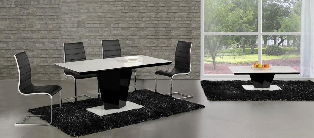 Swish Black High Gloss White Glass Designer Dining Table Only Or Regarding 2017 Black Gloss Dining Room Furniture (Image 18 of 20)
