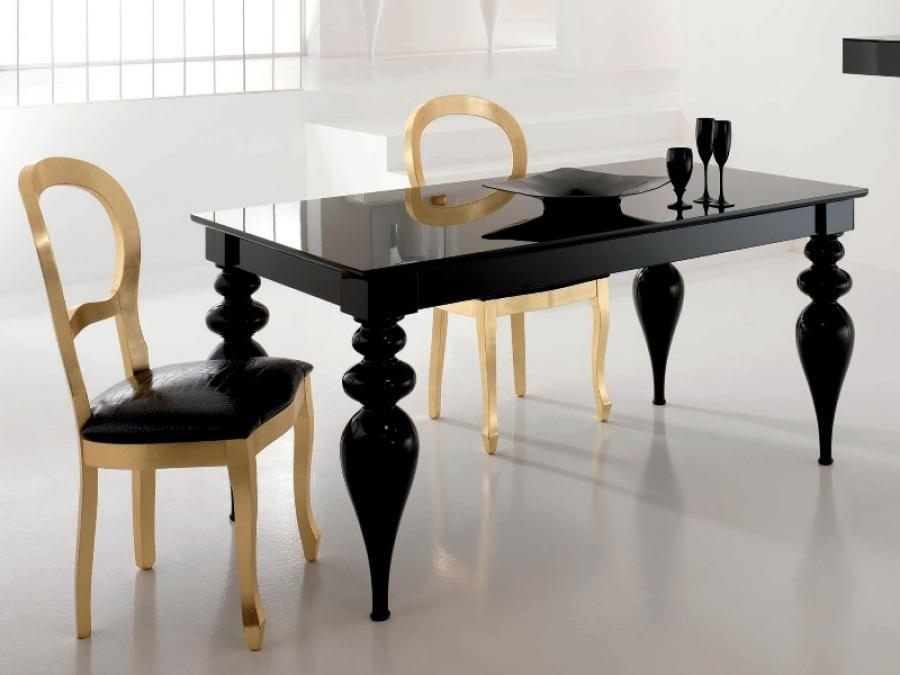 Tables Popular Dining Table Set Dining Table With Bench And Black Pertaining To Latest Black Gloss Dining Furniture (Image 18 of 20)