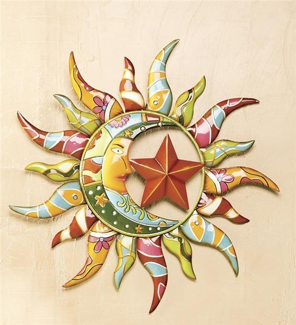 Talavera Painted Metal Sun And Moon Wall Art | Deck & Patio Accents Pertaining To Sun And Moon Metal Wall Art (View 10 of 20)
